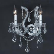 Wandlamp kristal 2-lichts chroom