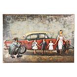 Wanddecoratie auto en gezin