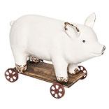 Decoratie varken op wielen
