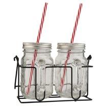 Drinking jar with straw