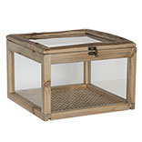 Kistje van hout met glas