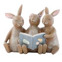 Decoratie konijnen met boek