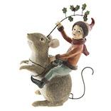 Decoratie muis met elfje