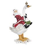 Decoratie kerstman op zwaan