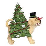 Decoratie hond met kerstboom LED