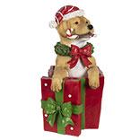 Decoratie hond met kerstcadeau LED