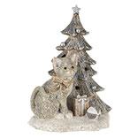 Decoratie kat bij kerstboom