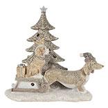 Decoratie honden bij kerstboom