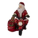 Decoratie kerstman op motor
