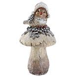 Vogel op paddenstoel