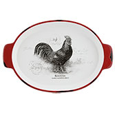 Plate oval rooster