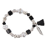 Armband feather and tassel black