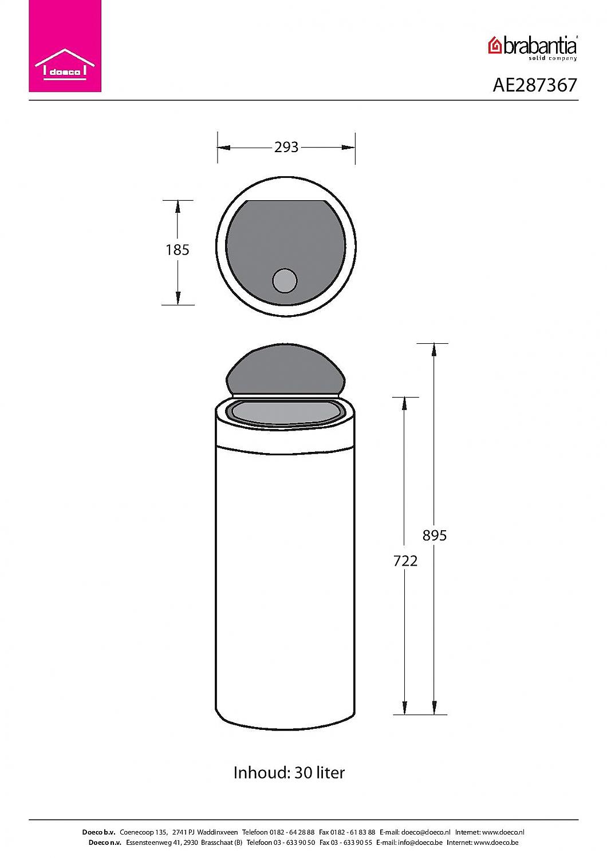Brabantia 30 Liter Afvalemmer.Brabantia Touch Bin 30 Liter Afvalemmer Chroom Vrijstaand