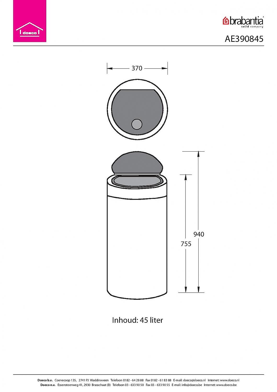 Touch Bin 45 Liter.Brabantia Touch Bin 45 Liter Afvalemmer Mat Rvs Vrijstaand