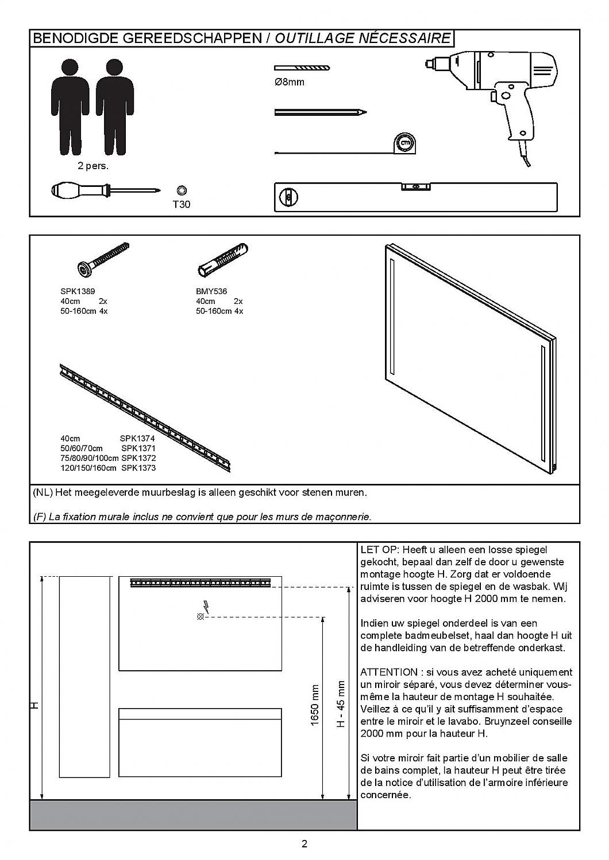 Bruynzeel spiegel 150cm LED verlicht m/alu kader m/spiegelverwarming ...