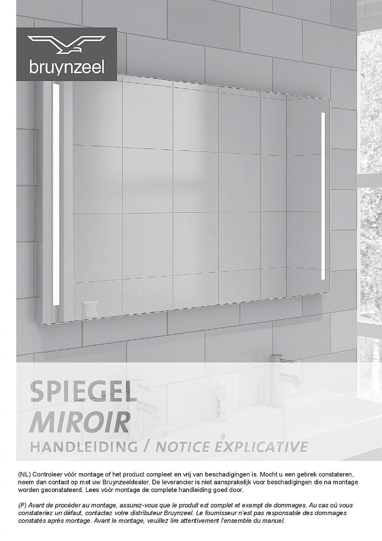 Bruynzeel spiegel 100cm m/alu kader horizontale TL verlichting incl ...