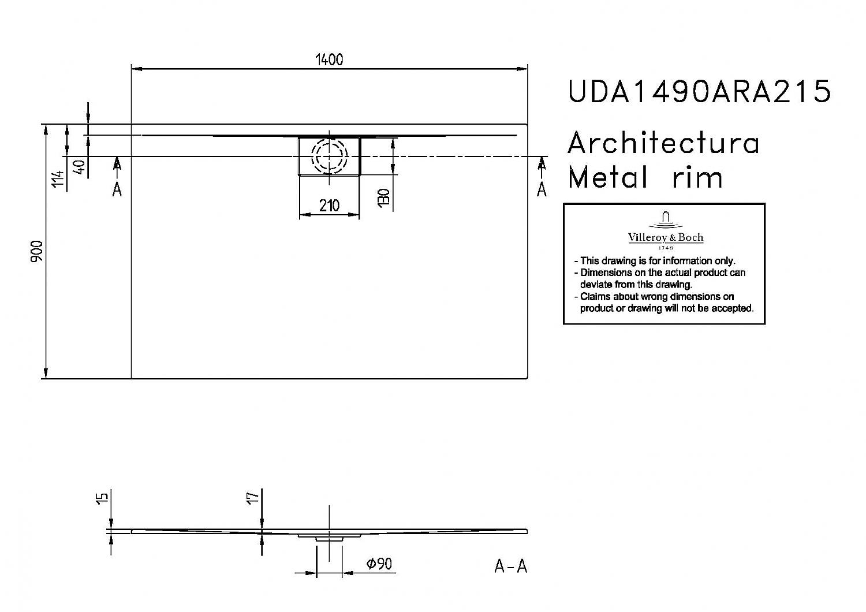 villeroy en boch architectura metalrim douchebak acryl wit uda1490ara215v01. Black Bedroom Furniture Sets. Home Design Ideas