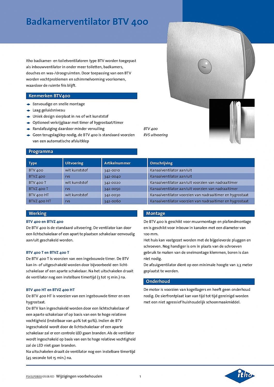 Itho Daalderop Btv 400t Badkamer Toilet Kanaalventilator Wit 78 M3h Timer 342 0020