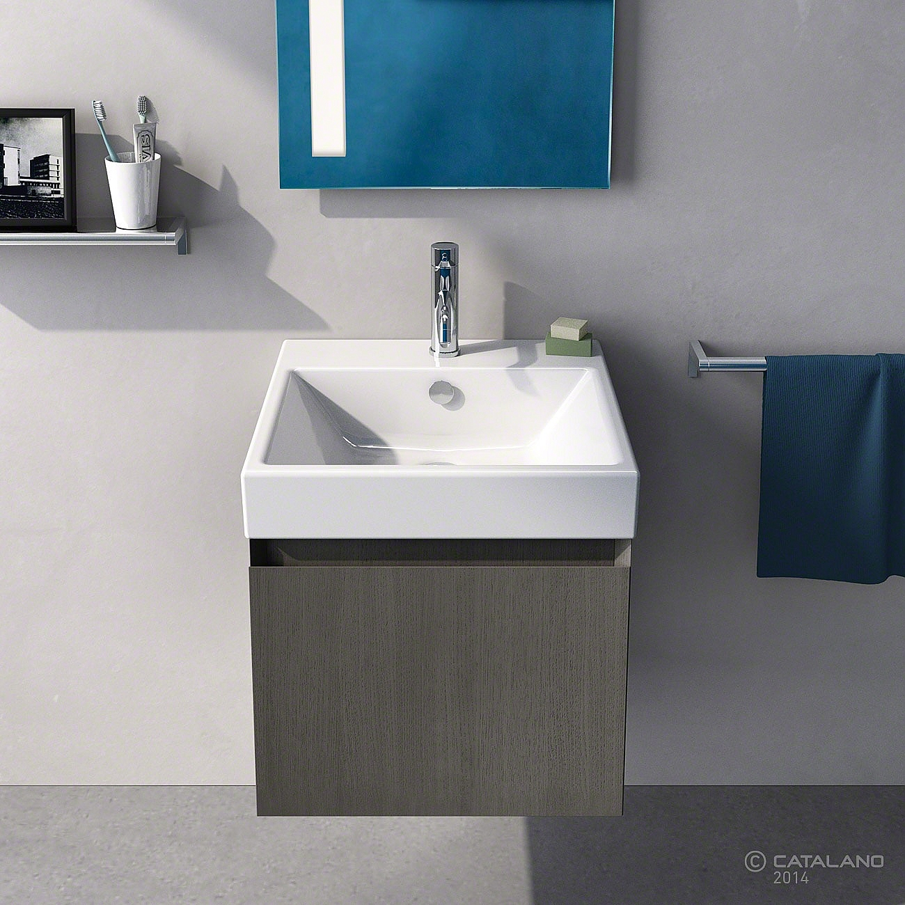 catalano zero wastafel 50x50cm wit 15qze00. Black Bedroom Furniture Sets. Home Design Ideas