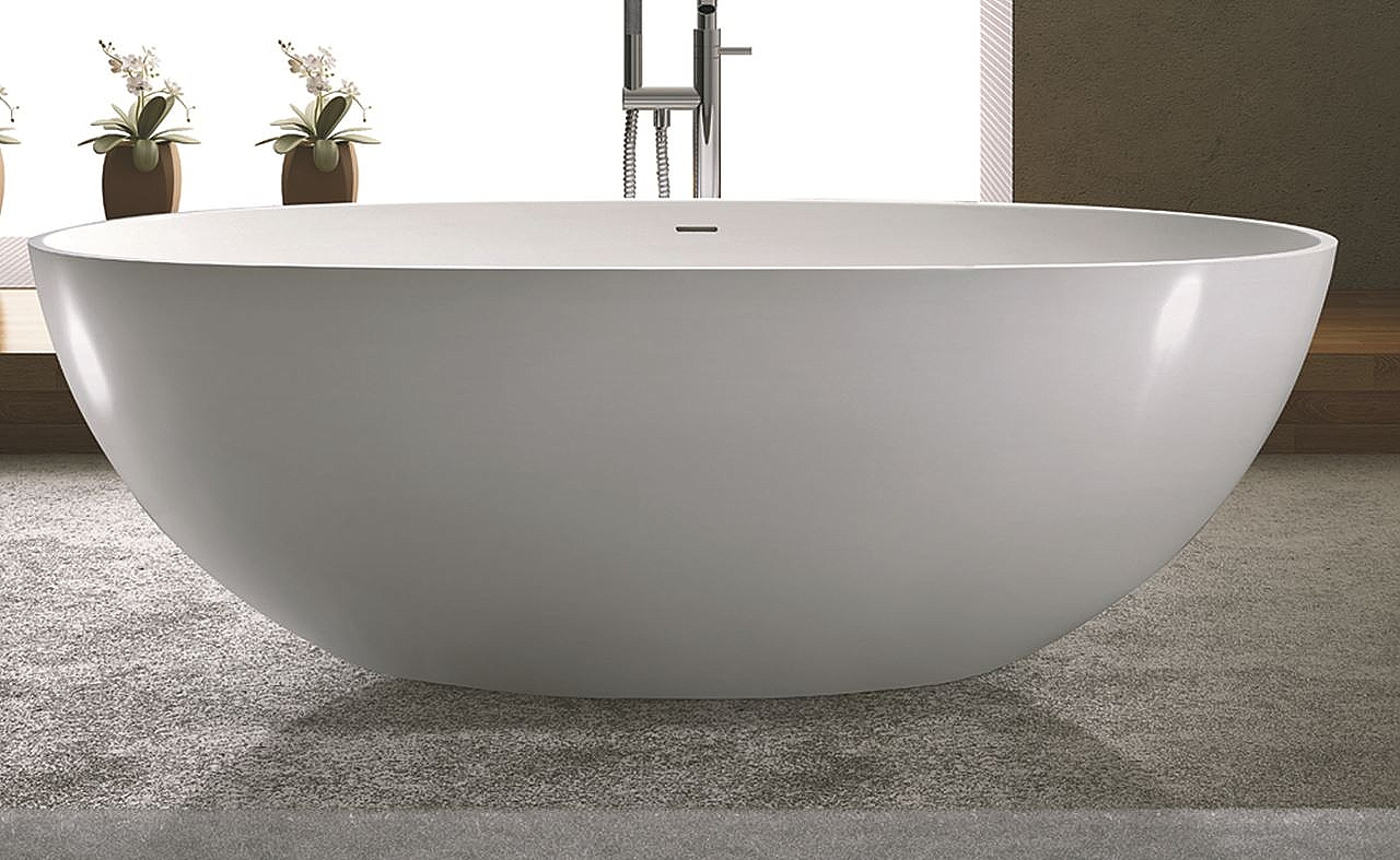 Solid Surface Badkamer : Luca sanitair vasca vrijstaand bad solid surface 180x93cm mat wit