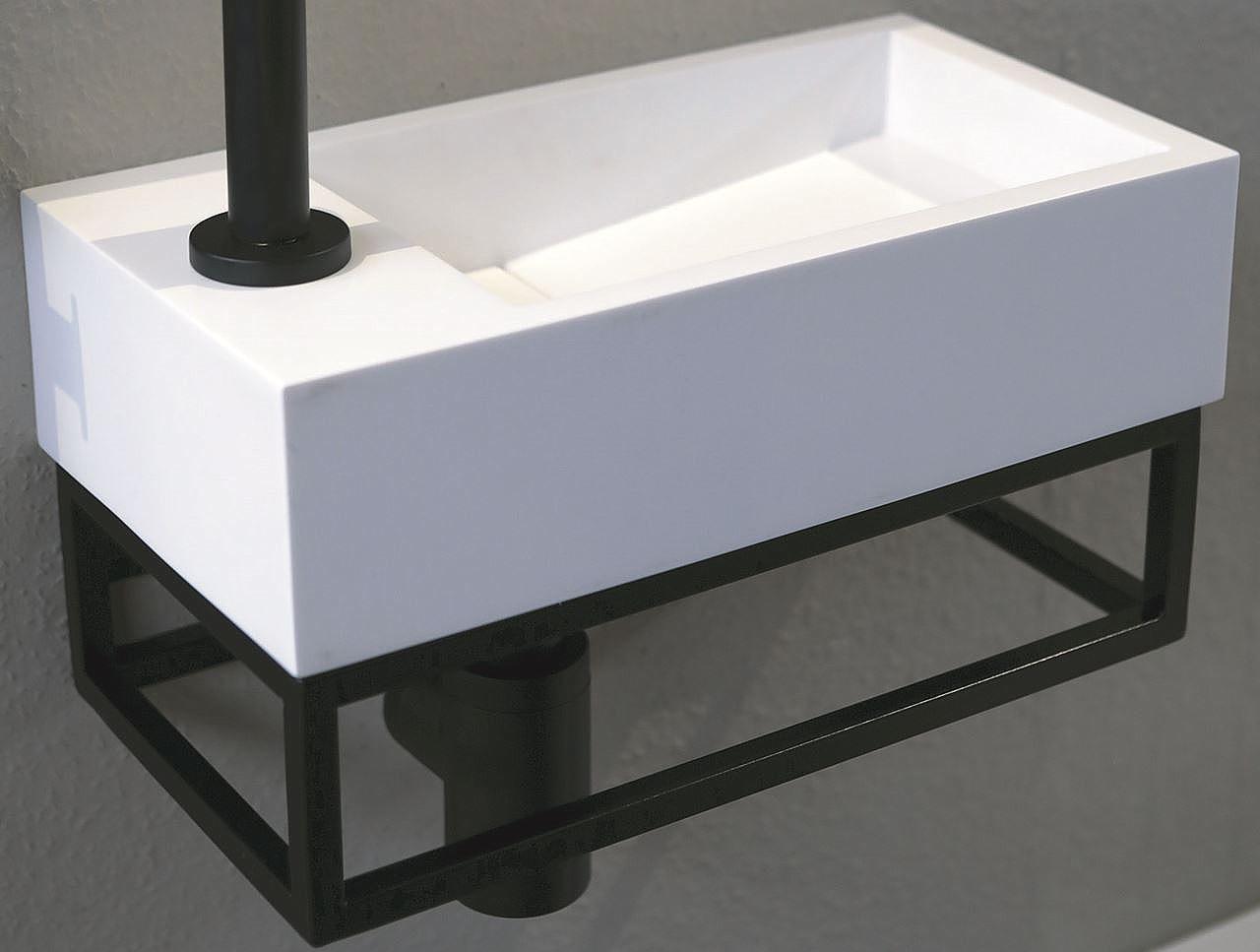 Zwarte Kraan Toilet : Luca sanitair fonteinset met luca steel frame zwart en solid surface