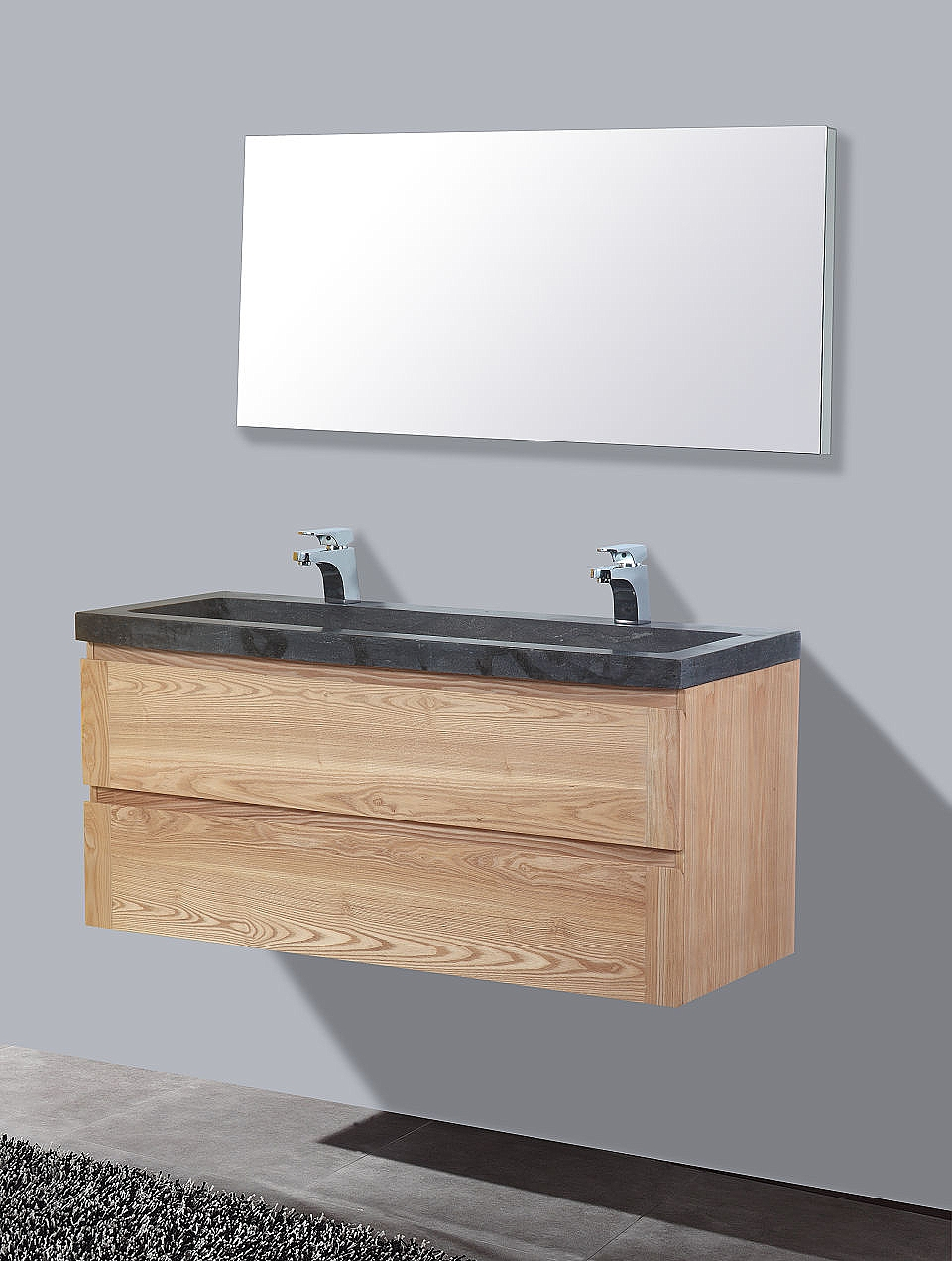 Frank&Co Wood Stone Badkamermeubel hout eiken/natuursteen 120cm ...