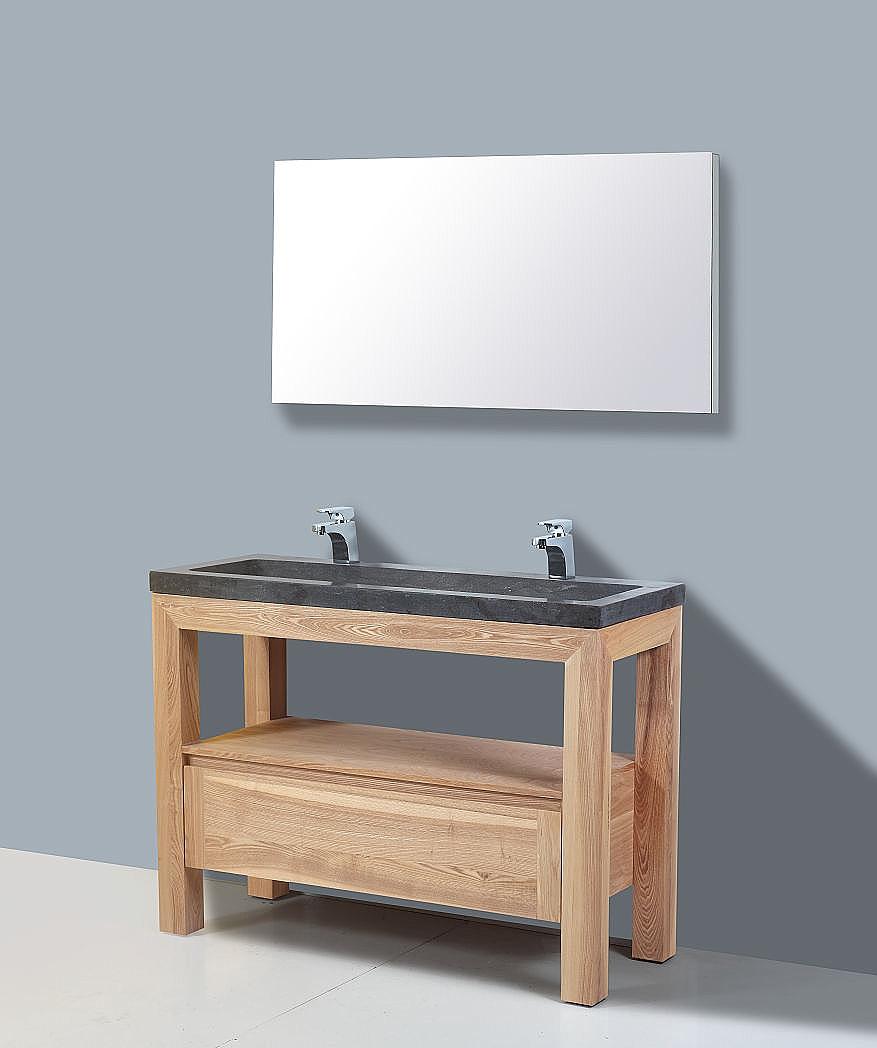 Frank&Co Robusta Stone Badkamermeubel hout eiken/natuursteen 120cm ...