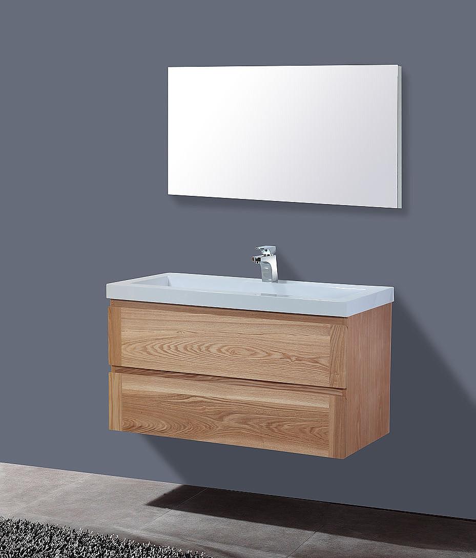 Frank&Co Senza Wood Badkamermeubel hout eiken/wit 100cm ...