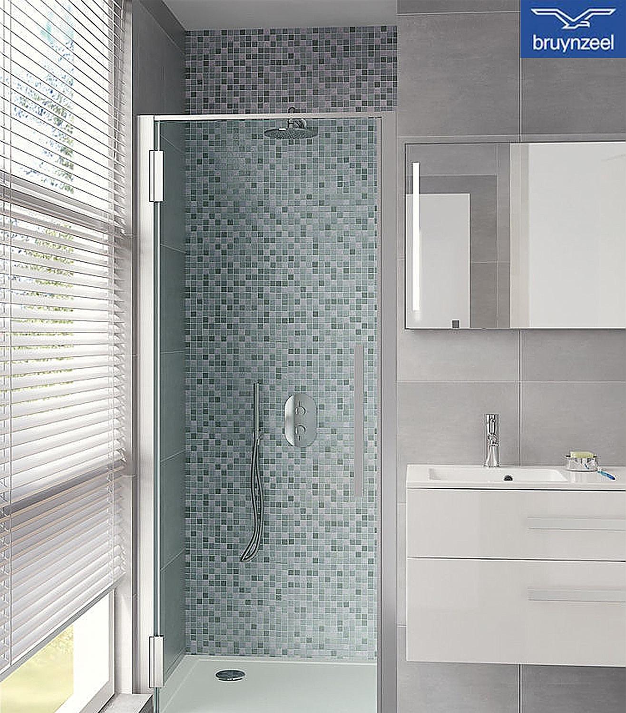 Bruynzeel Zeta draaideur 100x205cm helder cleanglas aluminium ...