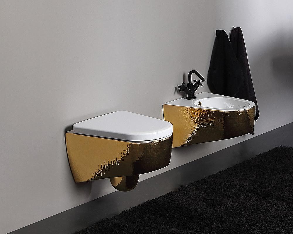 Inloopdouche Met Closetzitting : Vitruvit shape wandcloset luxury gold met softclose closetzitting