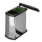 Hailo Duo-Automatic 16 liter afvalemmer AE341610 rvs/zwart