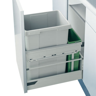Hailo Euro-Cargo-Front Afvalemmer 42 liter grijs AE361430