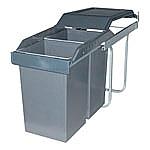 Hailo Tandem Afvalemmer Uittrek 30 liter grijs/zilver