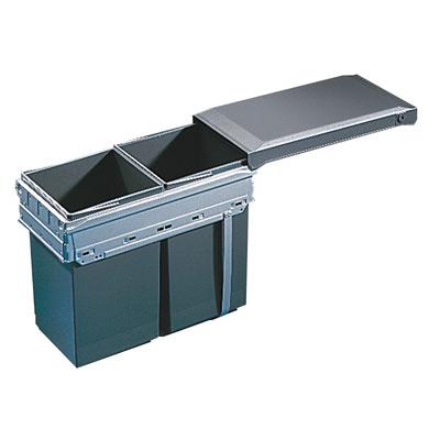 Hailo Tandem-Front Afvalemmer 30 liter grijs/zilver