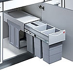 Hailo Tandem de Luxe Terzett 30L afvalemmer grijs/zilver AE366684