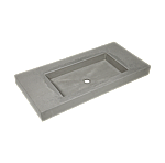 Cruxelles beton wastafel (geïmpregneerd) 1010x500x100 mm 1 kraangat kleur light