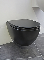 Globo 4ALL wandcloset rimless 54cm inclusief closetzitting softclose mat zwart