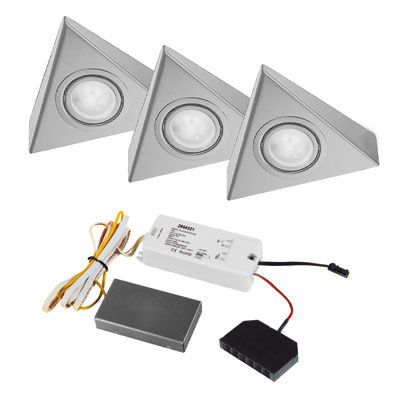 Triangle + Touch-dimmer LED sets - 12V inox LEDSET3TRID > Onderbouw ...
