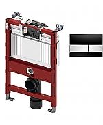 TECE inbouwreservoir 82cm front-/planchetbediening met TECEsquare glas bedieningspaneel zwart/RVS