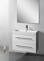 Evolution Compact Line badkamermeubel 80cm m. spiegel m. verlichting m. 1 kraangat hoogglans wit