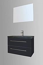 Evolution Compact Stone badkamermeubel 80cm met 1 kraangat hoogglans antraciet